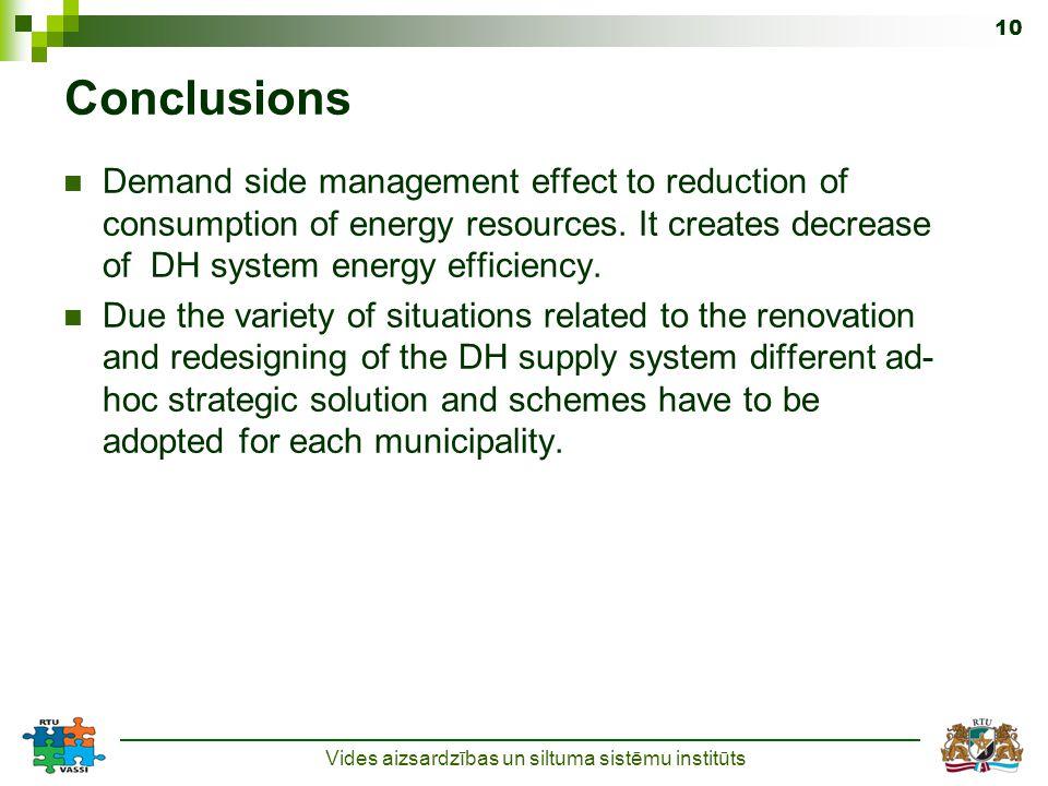 Vides aizsardzības un siltuma sistēmu institūts 10 Conclusions Demand side management effect to reduction of consumption of energy resources.