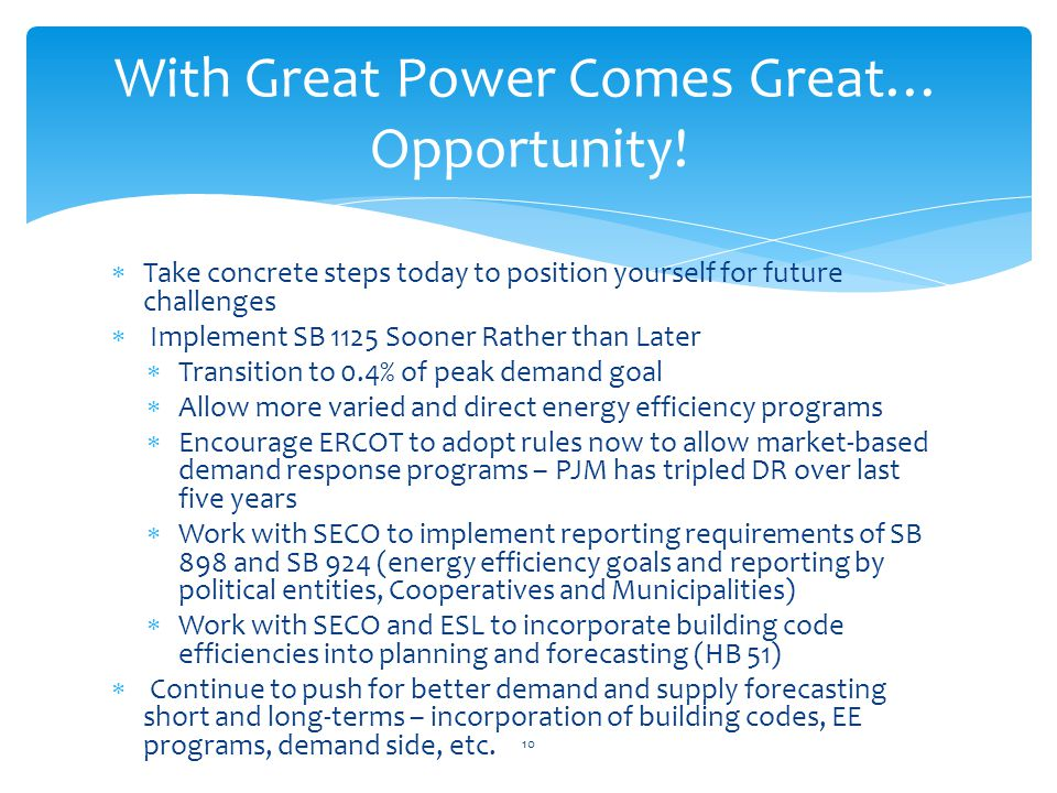 Take concrete steps today to position yourself for future challenges Implement SB 1125 Sooner Rather than Later Transition to 0.4% of peak demand goal