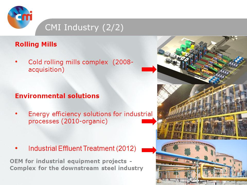 Special interventions and services on industrial equipment Steel Industry (<2002) Conventional powerplants (<2002) Rail (<2002) Nuclear powerplants (2009-organic) Windturbines (2008-organic) Local maintenance & repairs in the mechanical, welding, piping fields CMI Services Achieved >2002 >15 acquisitions of SME since 2002 >1700 specialists dedicated to industrial equipment