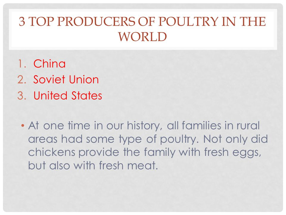 3 TOP PRODUCERS OF POULTRY IN THE WORLD 1.China 2.Soviet Union 3.United States At one time in our history, all families in rural areas had some type of poultry.