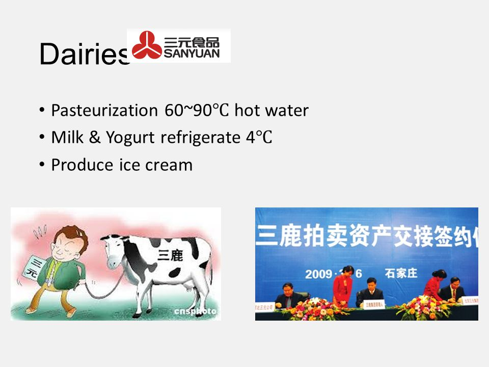 Dairies Pasteurization 60~90 hot water Milk & Yogurt refrigerate 4 Produce ice cream