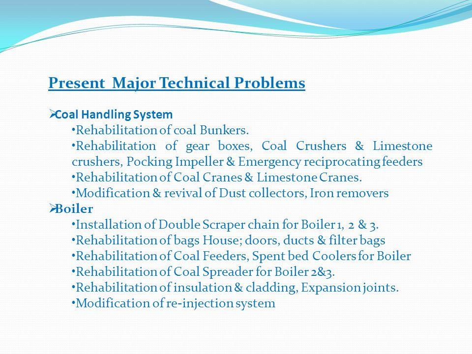 Present Major Technical Problems Coal Handling System Rehabilitation of coal Bunkers. Rehabilitation of gear boxes, Coal Crushers & Limestone crushers