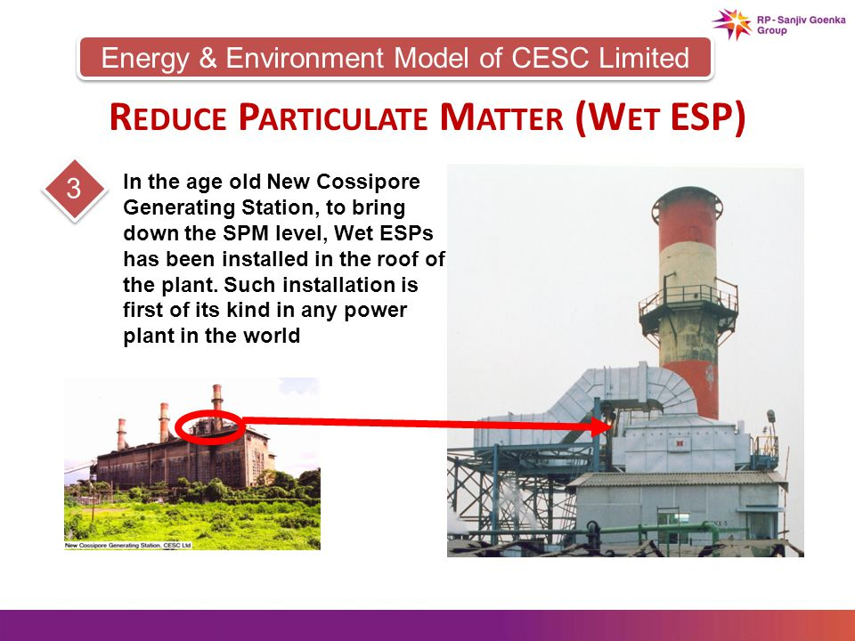 Energy & Environment Model of CESC Limited 3 In the age old New Cossipore Generating Station, to bring down the SPM level, Wet ESPs has been installed in the roof of the plant.