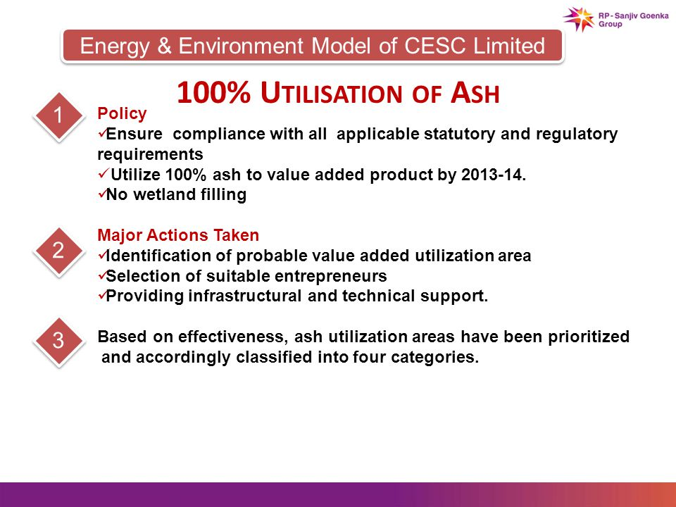 Energy & Environment Model of CESC Limited 100% U TILISATION OF A SH Policy Ensure compliance with all applicable statutory and regulatory requirements Utilize 100% ash to value added product by