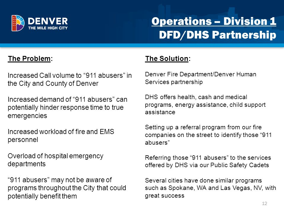 Operations – Division 1 DFD/DHS Partnership The Problem: Increased Call volume to 911 abusers in the City and County of Denver Increased demand of 911
