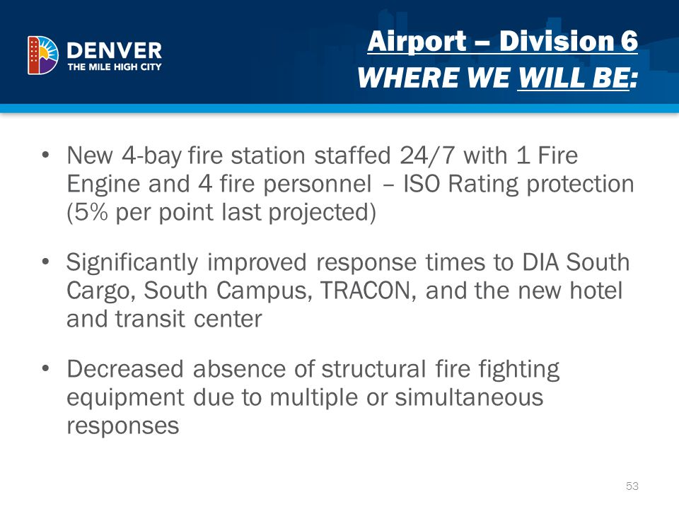 Airport – Division 6 WHERE WE WILL BE: New 4-bay fire station staffed 24/7 with 1 Fire Engine and 4 fire personnel – ISO Rating protection (5% per poi