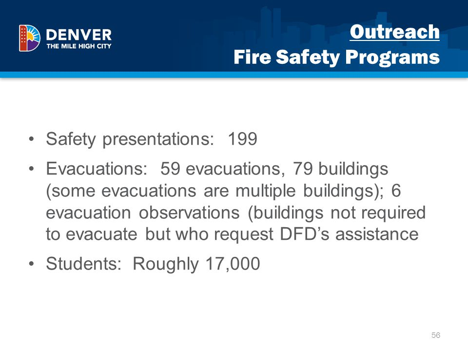 Outreach Fire Safety Programs Safety presentations: 199 Evacuations: 59 evacuations, 79 buildings (some evacuations are multiple buildings); 6 evacuat