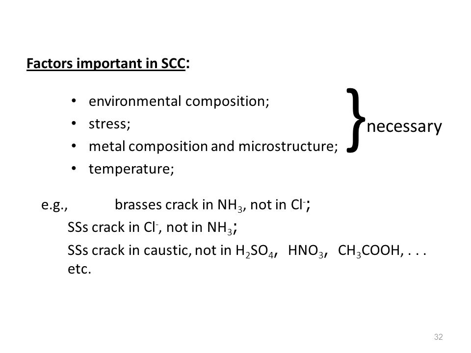 32 Factors important in SCC: environmental composition; stress; metal composition and microstructure; temperature; e.g.,brasses crack in NH 3, not in