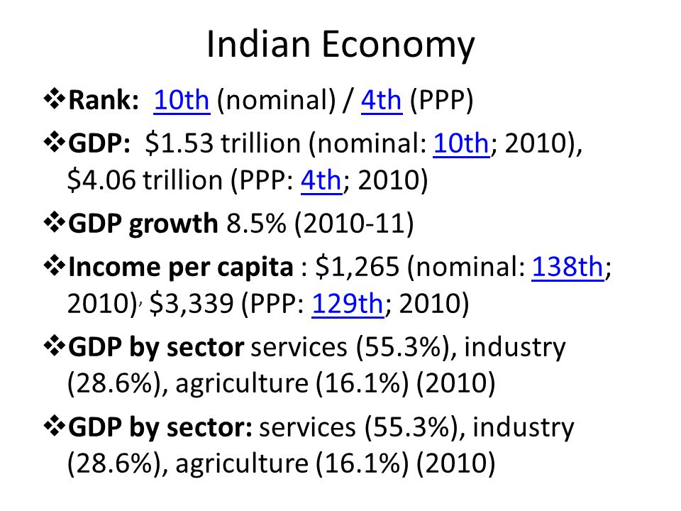 Indian Economy Rank: 10th (nominal) / 4th (PPP)10th4th GDP: $1.53 trillion (nominal: 10th; 2010), $4.06 trillion (PPP: 4th; 2010)10th4th GDP growth 8.5% ( ) Income per capita : $1,265 (nominal: 138th; 2010), $3,339 (PPP: 129th; 2010)138th129th GDP by sector services (55.3%), industry (28.6%), agriculture (16.1%) (2010) GDP by sector: services (55.3%), industry (28.6%), agriculture (16.1%) (2010)