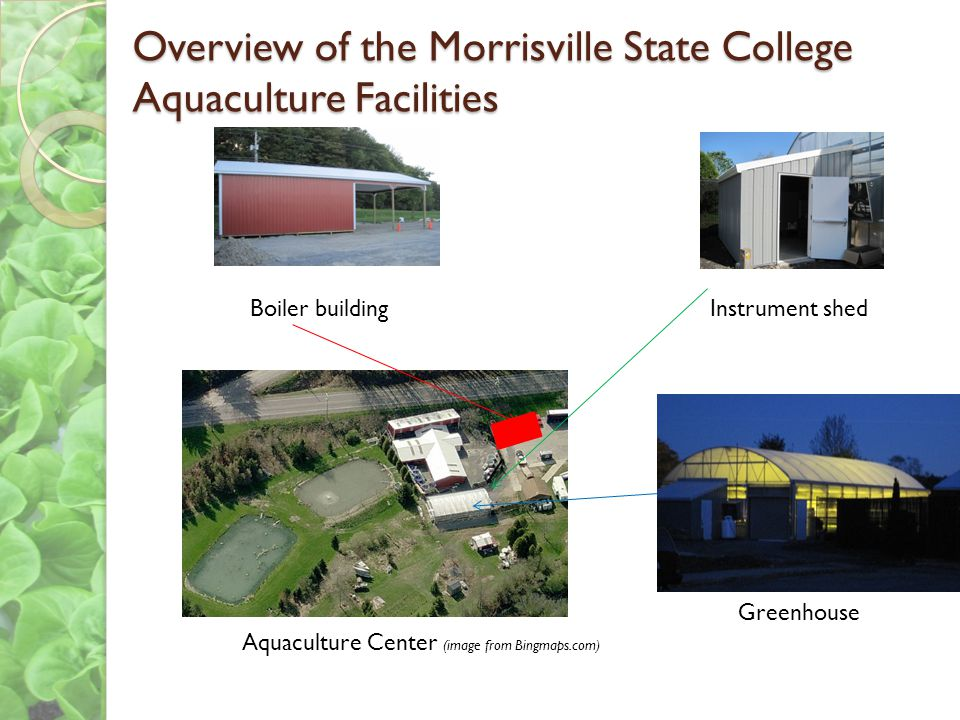 Overview of the Morrisville State College Aquaculture Facilities Boiler buildingInstrument shed Greenhouse Aquaculture Center (image from Bingmaps.com)