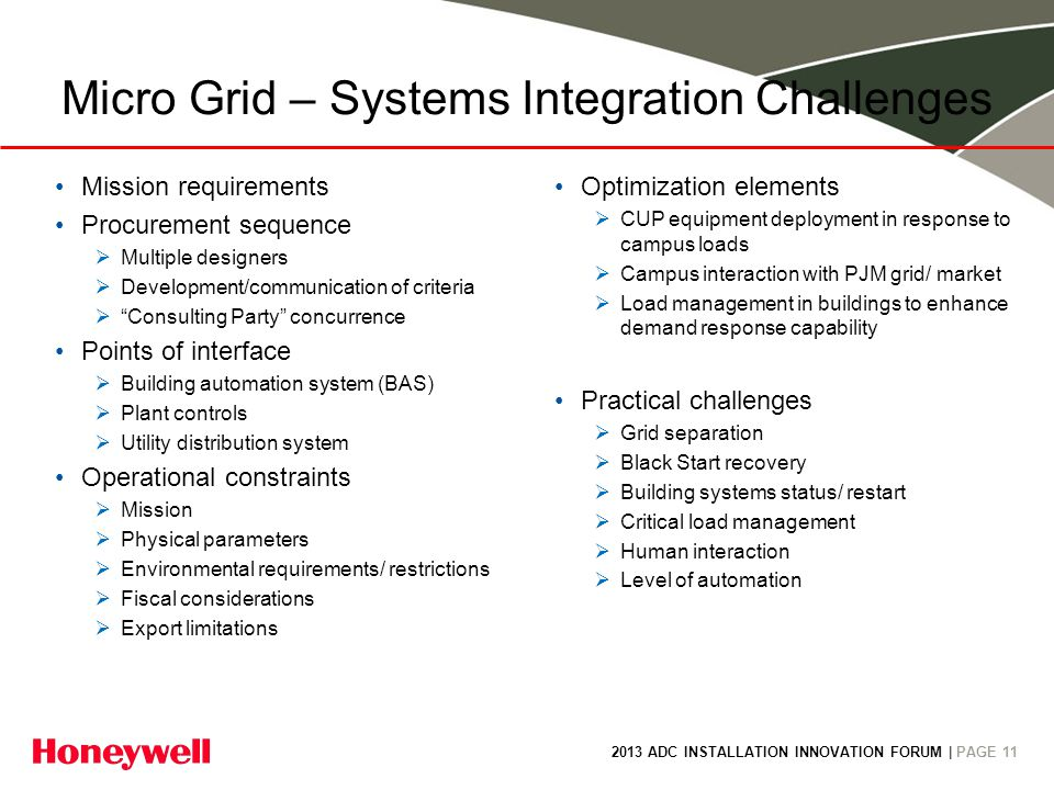 2013 ADC INSTALLATION INNOVATION FORUM | PAGE 11 Micro Grid – Systems Integration Challenges Mission requirements Procurement sequence Multiple design
