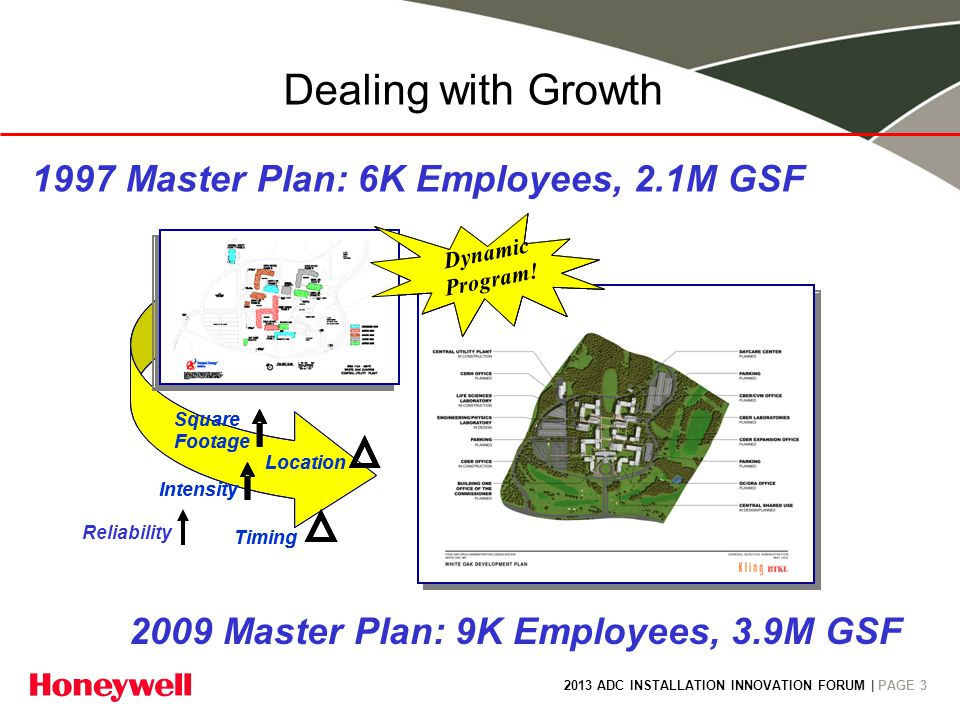 2013 ADC INSTALLATION INNOVATION FORUM | PAGE 3 Dealing with Growth 2009 Master Plan: 9K Employees, 3.9M GSF 1997 Master Plan: 6K Employees, 2.1M GSF