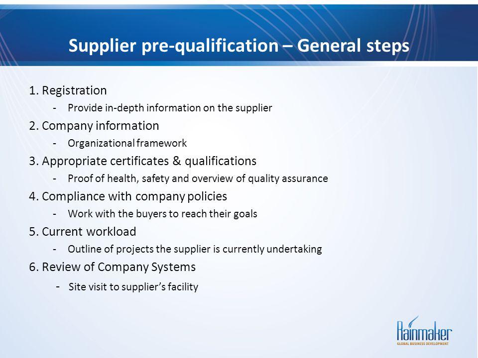 Supplier pre-qualification – General steps 1. Registration -Provide in-depth information on the supplier 2. Company information -Organizational framew