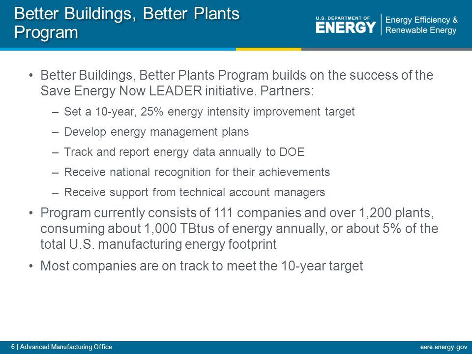 6 | Advanced Manufacturing Officeeere.energy.gov Better Buildings, Better Plants Program Better Buildings, Better Plants Program builds on the success of the Save Energy Now LEADER initiative.