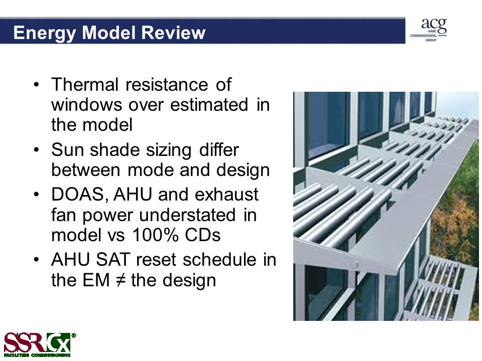 Energy Model Review Thermal resistance of windows over estimated in the model Sun shade sizing differ between mode and design DOAS, AHU and exhaust fan power understated in model vs 100% CDs AHU SAT reset schedule in the EM the design
