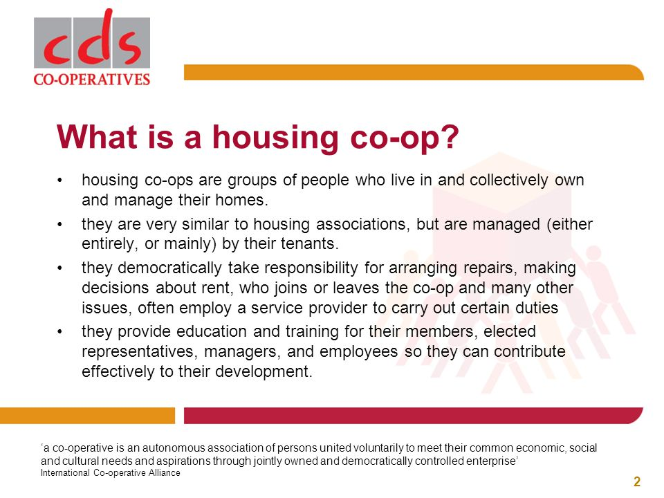 What is a housing co-op.