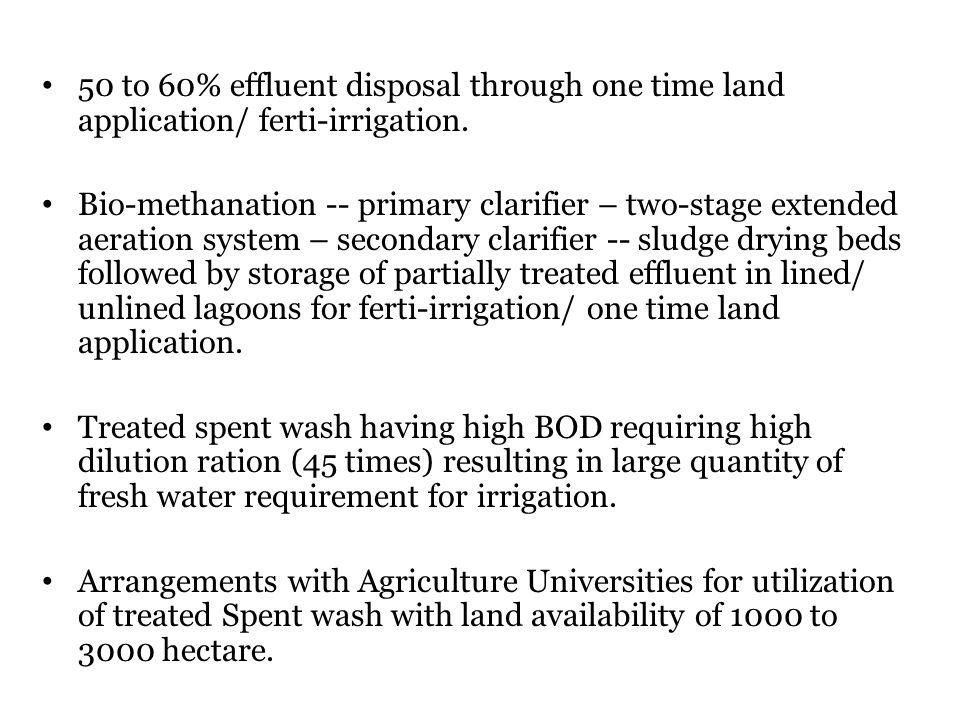 50 to 60% effluent disposal through one time land application/ ferti-irrigation.