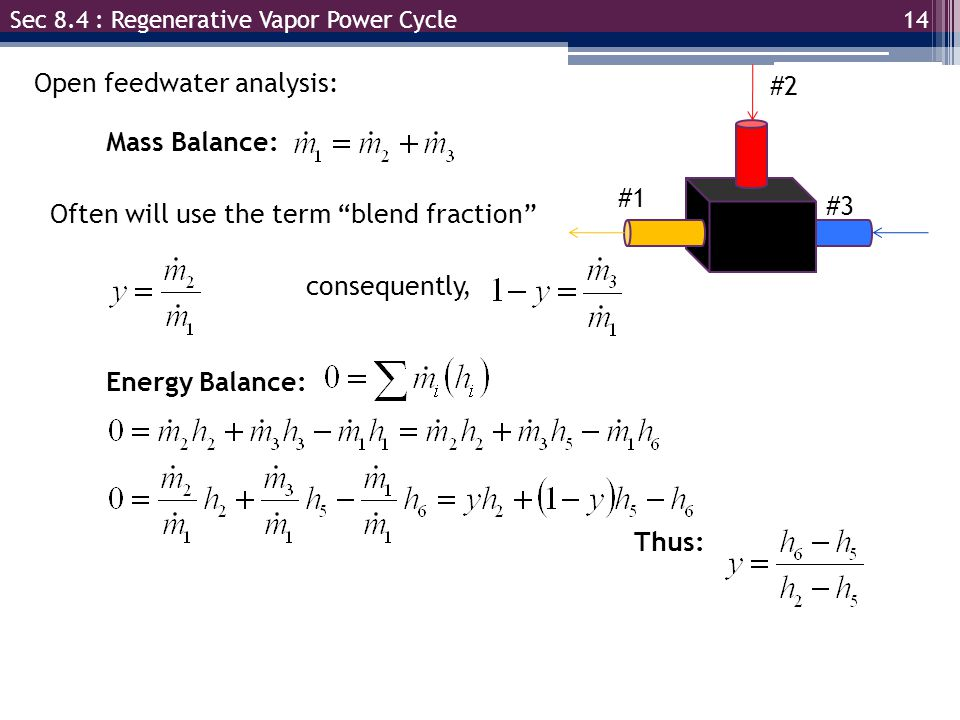 14 Sec 8.4 : Regenerative Vapor Power Cycle Open feedwater analysis: Mass Balance: #1 #2 #3 Often will use the term blend fraction consequently, Energy Balance: Thus: