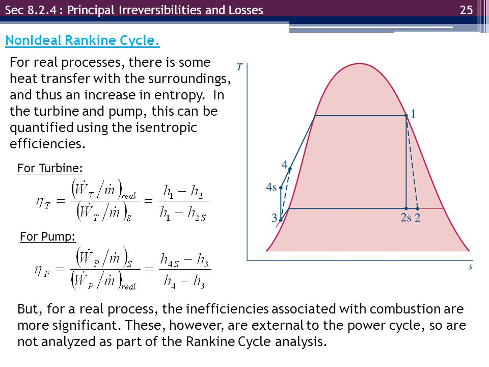 25 Sec 8.2.4 : Principal Irreversibilities and Losses NonIdeal Rankine Cycle.