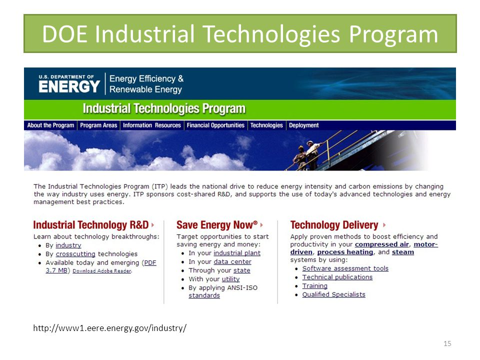 DOE Industrial Technologies Program 15 http://www1.eere.energy.gov/industry/
