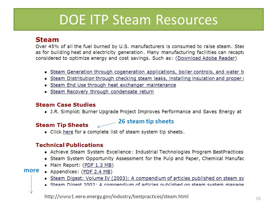 DOE ITP Steam Resources 19 26 steam tip sheets more http://www1.eere.energy.gov/industry/bestpractices/steam.html