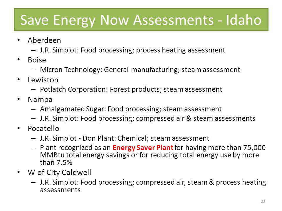 Save Energy Now Assessments - Idaho Aberdeen – J.R.