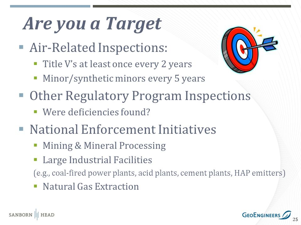 25 Are you a Target Air-Related Inspections: Title Vs at least once every 2 years Minor/synthetic minors every 5 years Other Regulatory Program Inspections Were deficiencies found.