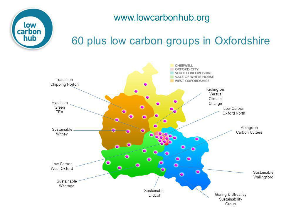60 plus low carbon groups in Oxfordshire Low Carbon Oxford North Low Carbon West Oxford Kidlington Versus Climate Change Transition Chipping Norton Eynsham Green TEA Sustainable Witney Abingdon Carbon Cutters Sustainable Didcot Sustainable Wantage Goring & Streatley Sustainability Group Sustainable Wallingford