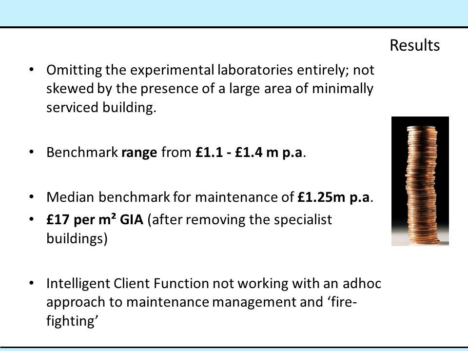 Results Omitting the experimental laboratories entirely; not skewed by the presence of a large area of minimally serviced building. Benchmark range fr