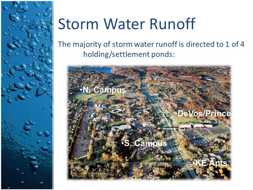 Storm Water Runoff The majority of storm water runoff is directed to 1 of 4 holding/settlement ponds: DeVos/Prince N. Campus S. Campus KE Apts.
