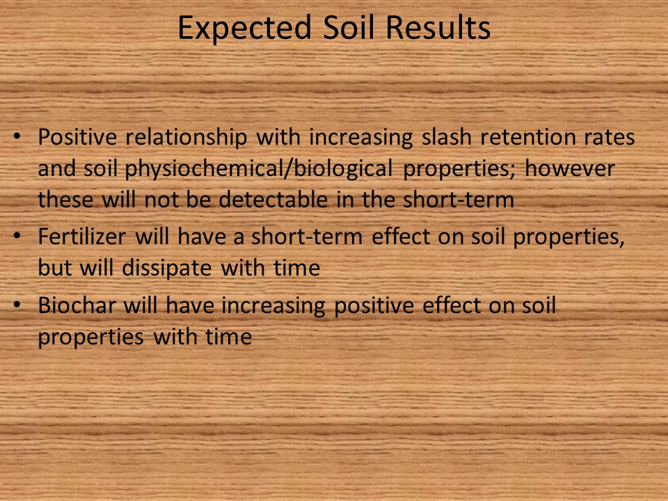 Expected Soil Results Positive relationship with increasing slash retention rates and soil physiochemical/biological properties; however these will not be detectable in the short-term Fertilizer will have a short-term effect on soil properties, but will dissipate with time Biochar will have increasing positive effect on soil properties with time