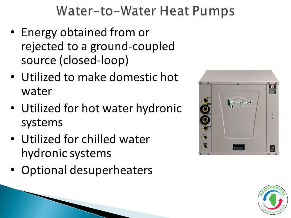 Water-to-Water Heat Pumps Energy obtained from or rejected to a ground-coupled source (closed-loop) Utilized to make domestic hot water Utilized for hot water hydronic systems Utilized for chilled water hydronic systems Optional desuperheaters