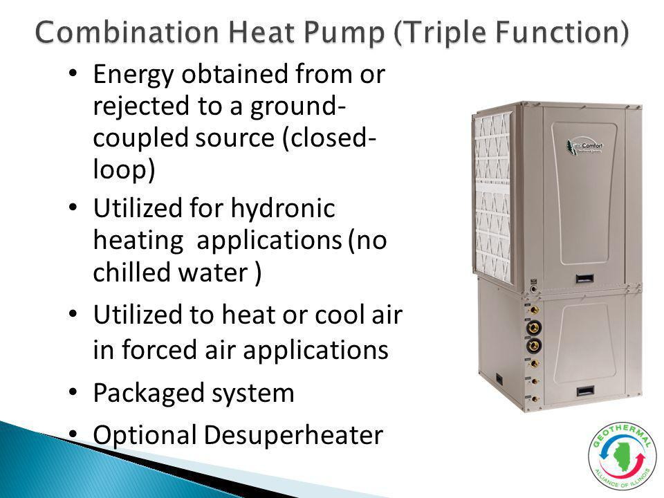 Energy obtained from or rejected to a ground- coupled source (closed- loop) Utilized for hydronic heating applications (no chilled water ) Utilized to
