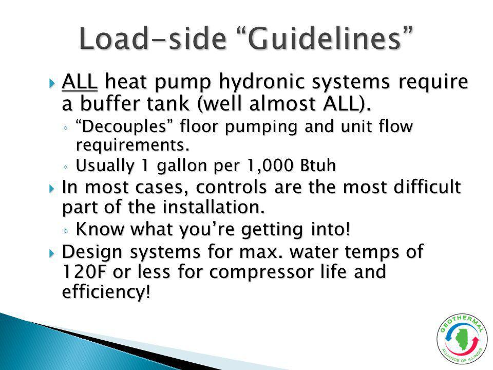 ALL heat pump hydronic systems require a buffer tank (well almost ALL). ALL heat pump hydronic systems require a buffer tank (well almost ALL). Decoup