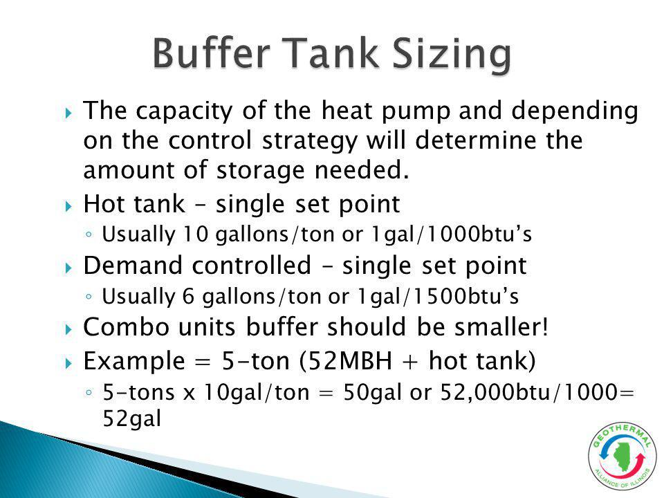 The capacity of the heat pump and depending on the control strategy will determine the amount of storage needed. Hot tank – single set point Usually 1