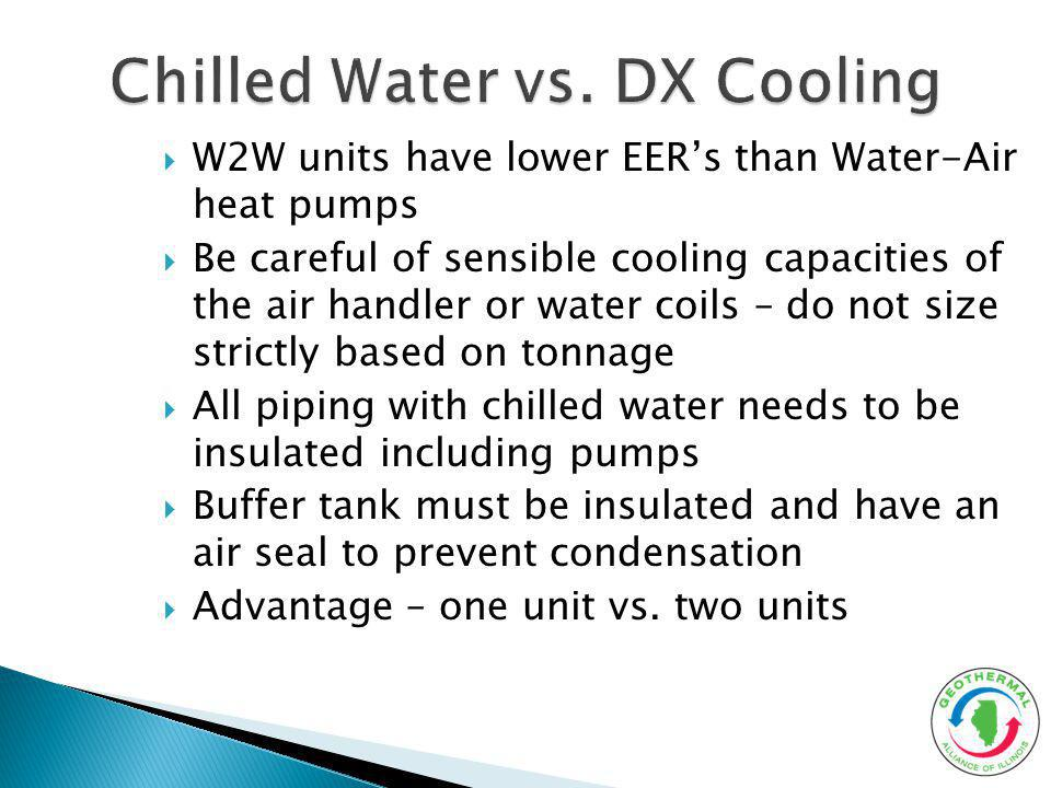 W2W units have lower EERs than Water-Air heat pumps Be careful of sensible cooling capacities of the air handler or water coils – do not size strictly based on tonnage All piping with chilled water needs to be insulated including pumps Buffer tank must be insulated and have an air seal to prevent condensation Advantage – one unit vs.