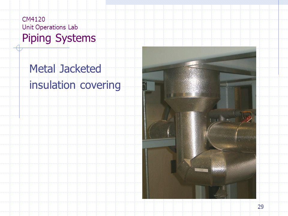 29 CM4120 Unit Operations Lab Piping Systems Metal Jacketed insulation covering