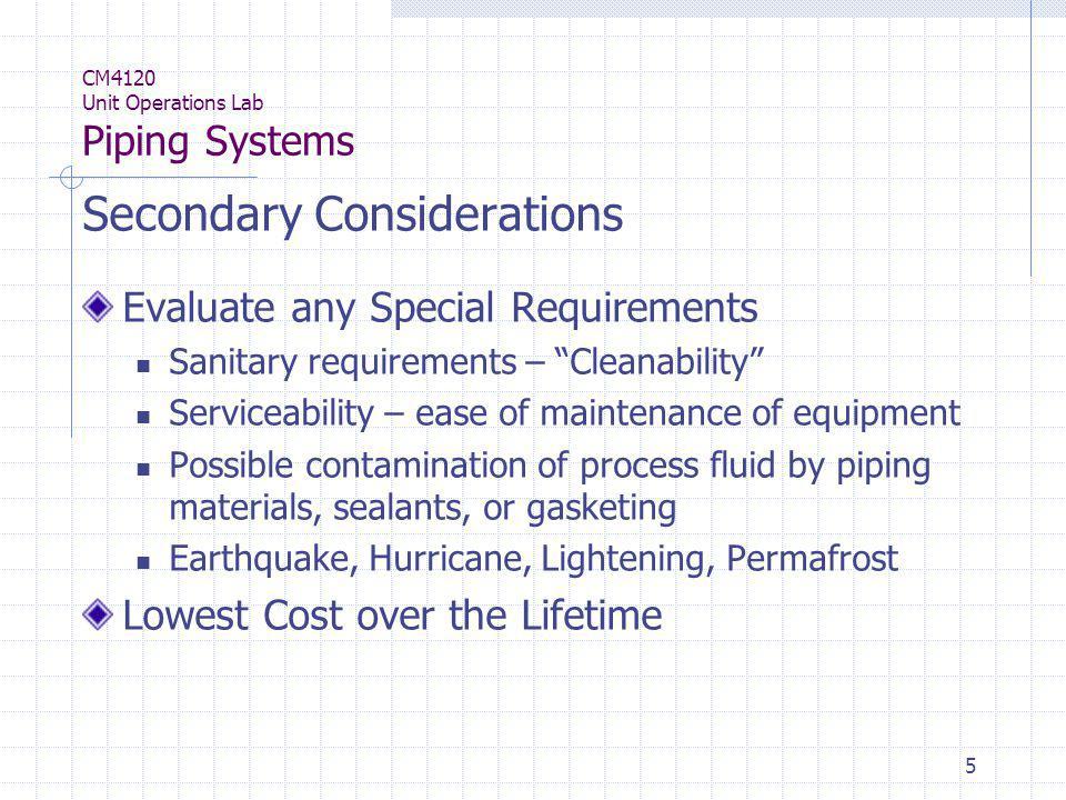 46 CM4120 Unit Operations Lab Piping Systems Materials – Metallic piping Nickel, Titanium, Copper, etc.