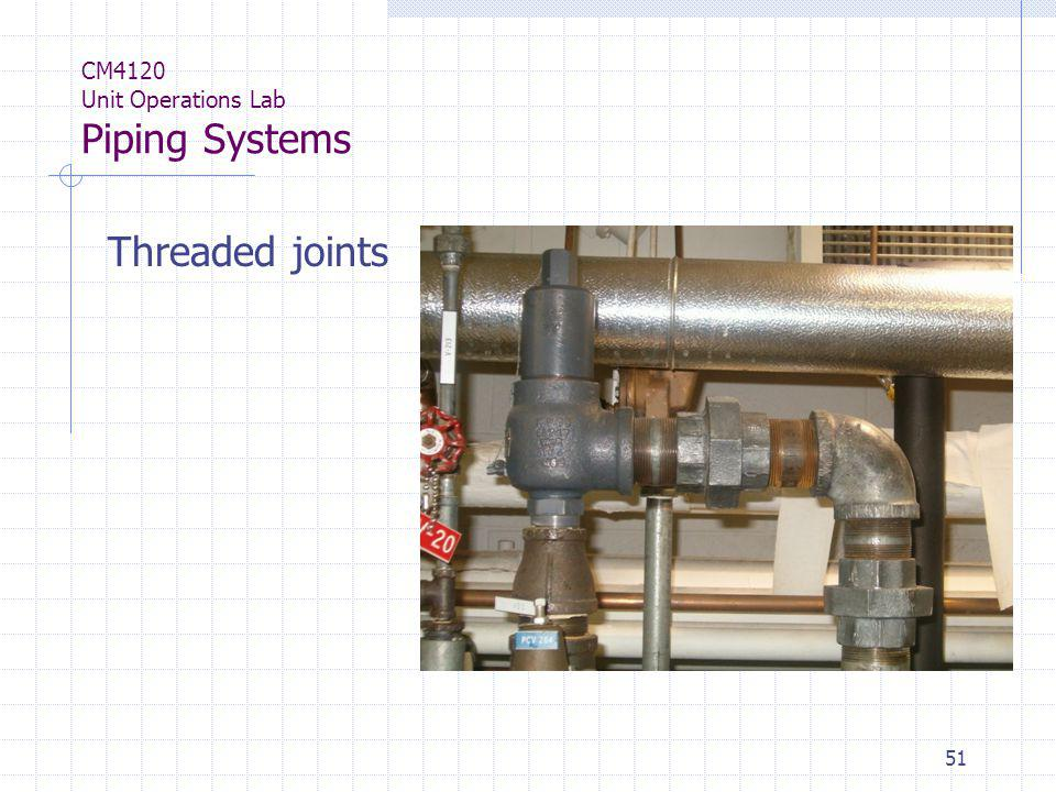 51 CM4120 Unit Operations Lab Piping Systems Threaded joints