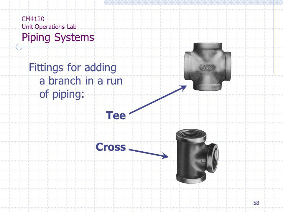 58 CM4120 Unit Operations Lab Piping Systems Fittings for adding a branch in a run of piping: Tee Cross