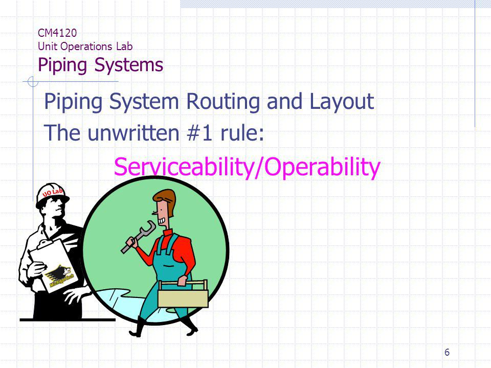 6 CM4120 Unit Operations Lab Piping Systems Piping System Routing and Layout The unwritten #1 rule: Serviceability/Operability