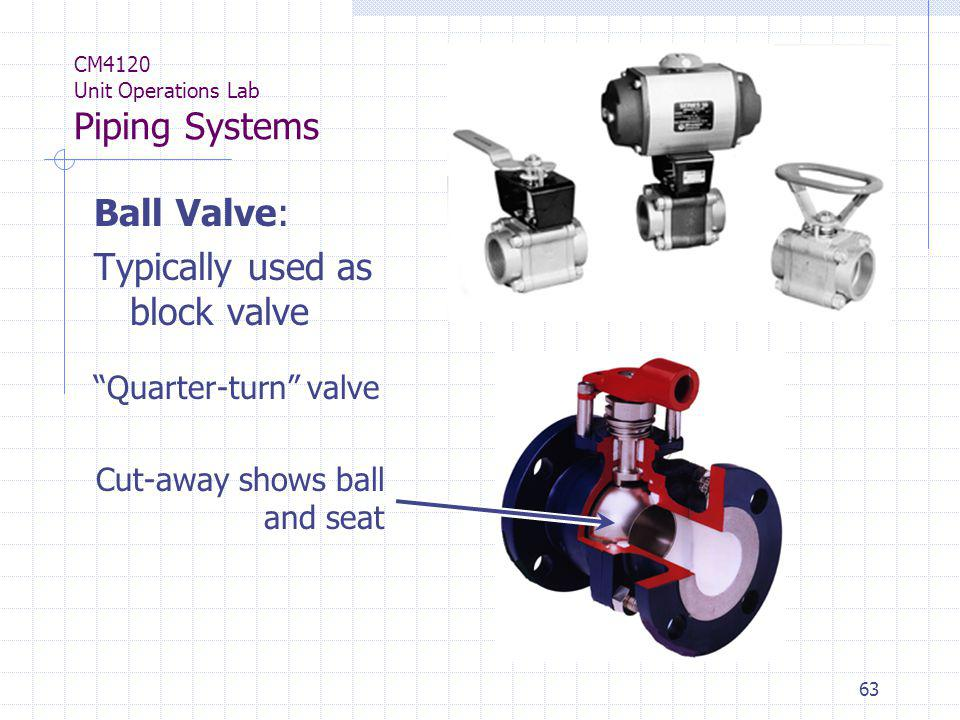63 CM4120 Unit Operations Lab Piping Systems Ball Valve: Typically used as block valve Quarter-turn valve Cut-away shows ball and seat