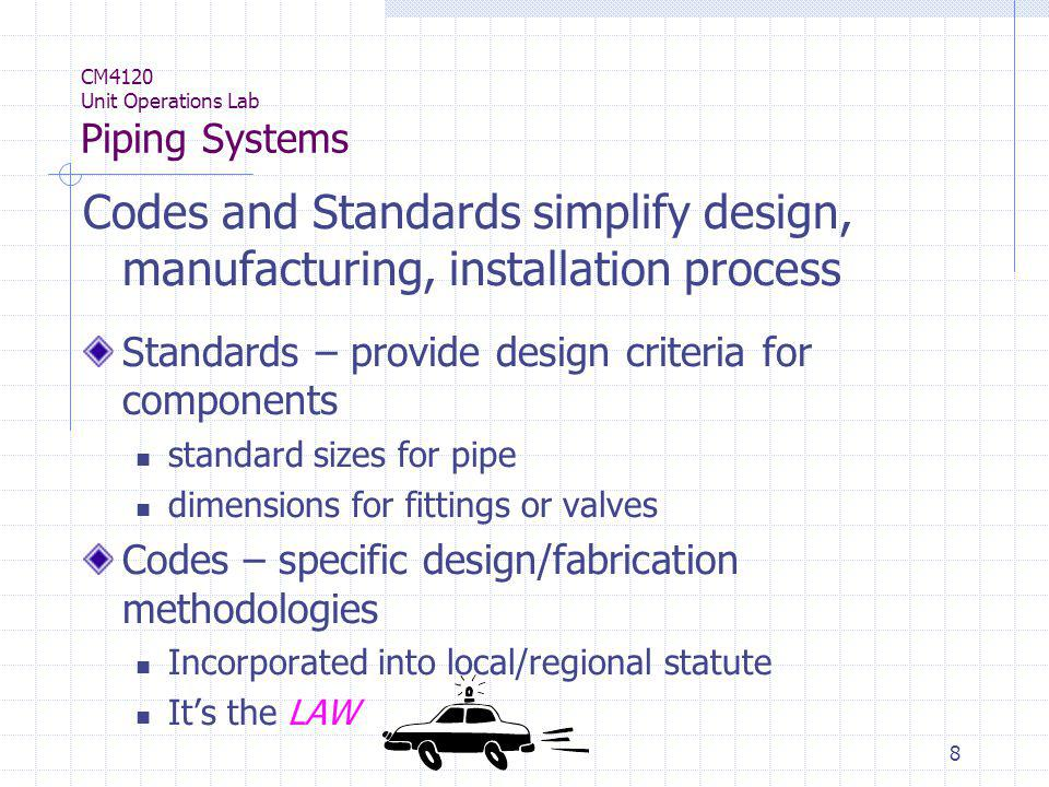 9 CM4120 Unit Operations Lab Piping Systems ASME Boiler and Pressure Vessel Code ASME B31: Code for Pressure Piping ANSI Standards – dimensions for valves, piping, fittings, nuts/washers, etc.