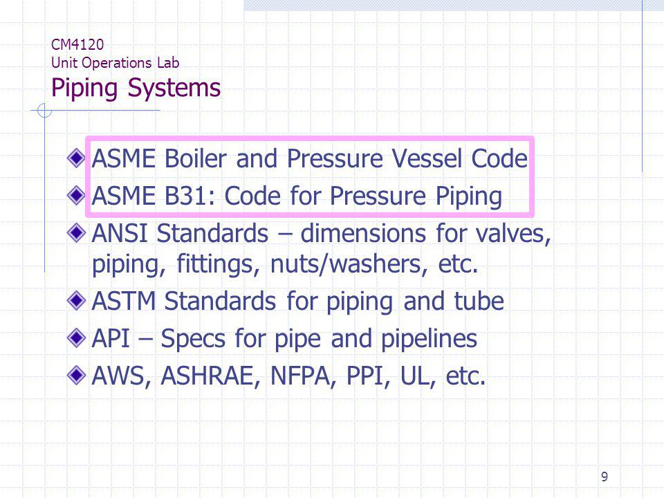 50 CM4120 Unit Operations Lab Piping Systems Pipe Joints Threaded Welded Soldered/ Brazed Glued Compression Bell and spigot Upset or expanded