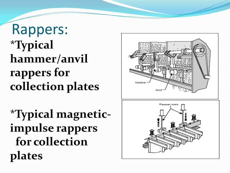 Rappers: *Typical hammer/anvil rappers for collection plates *Typical magnetic- impulse rappers for collection plates