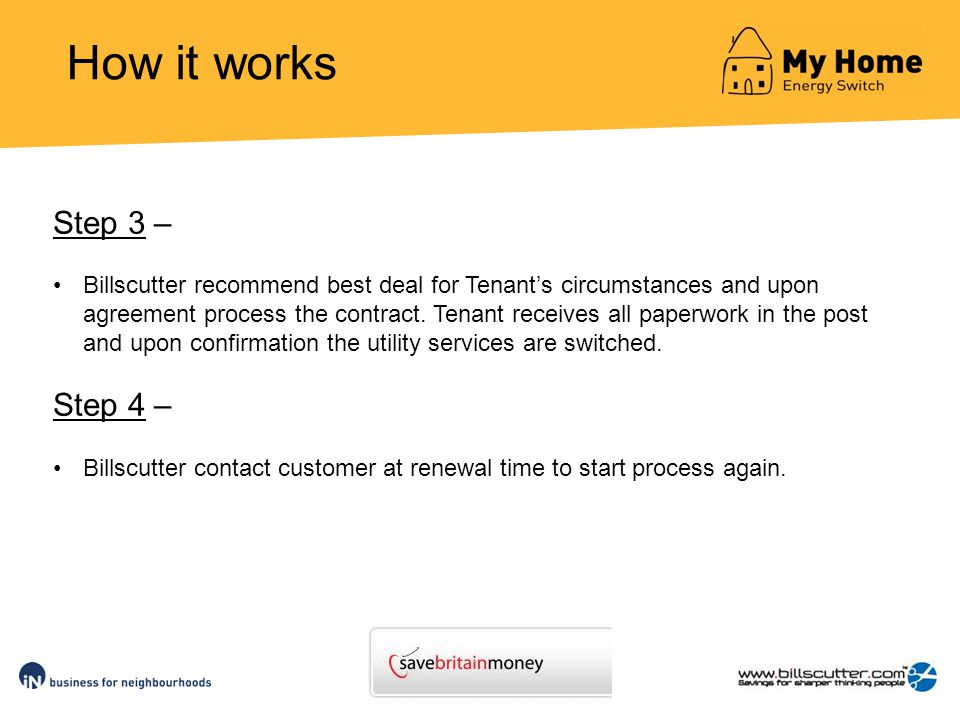 How it works Step 3 – Billscutter recommend best deal for Tenants circumstances and upon agreement process the contract.