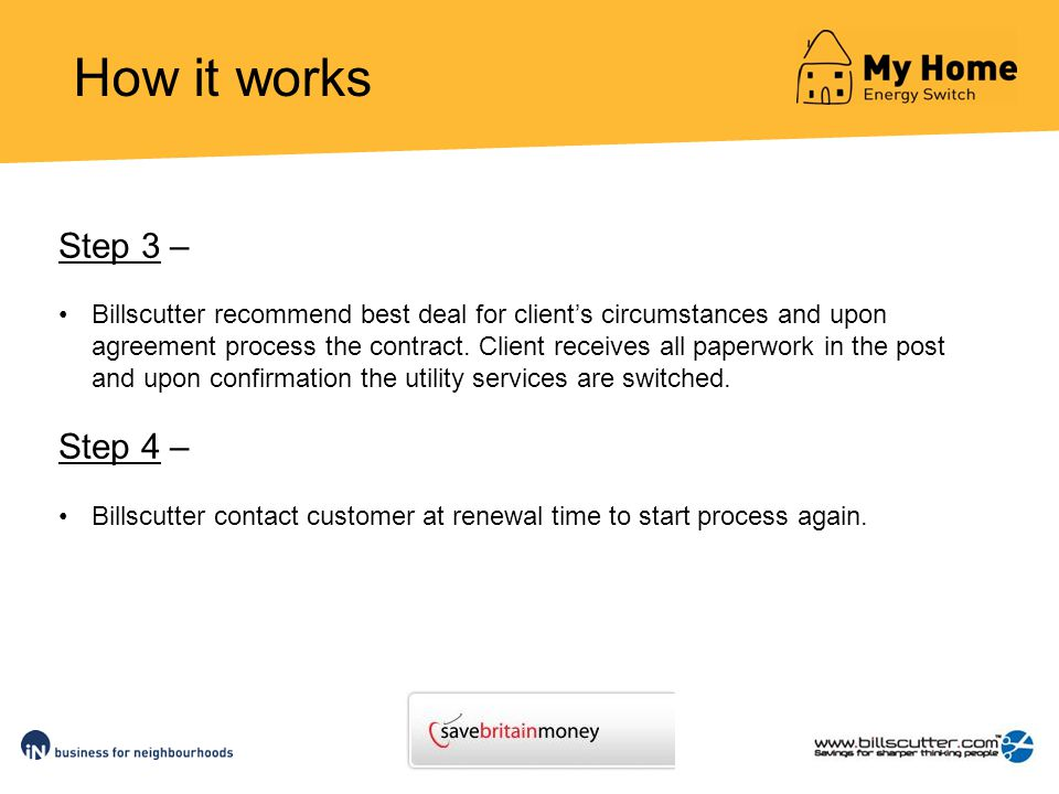 How it works Step 3 – Billscutter recommend best deal for clients circumstances and upon agreement process the contract.