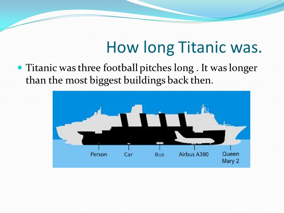How long Titanic was. Titanic was three football pitches long.