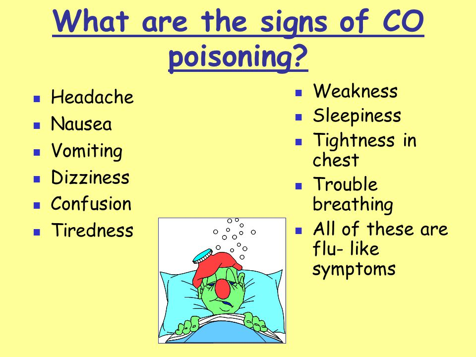 What are the signs of CO poisoning.