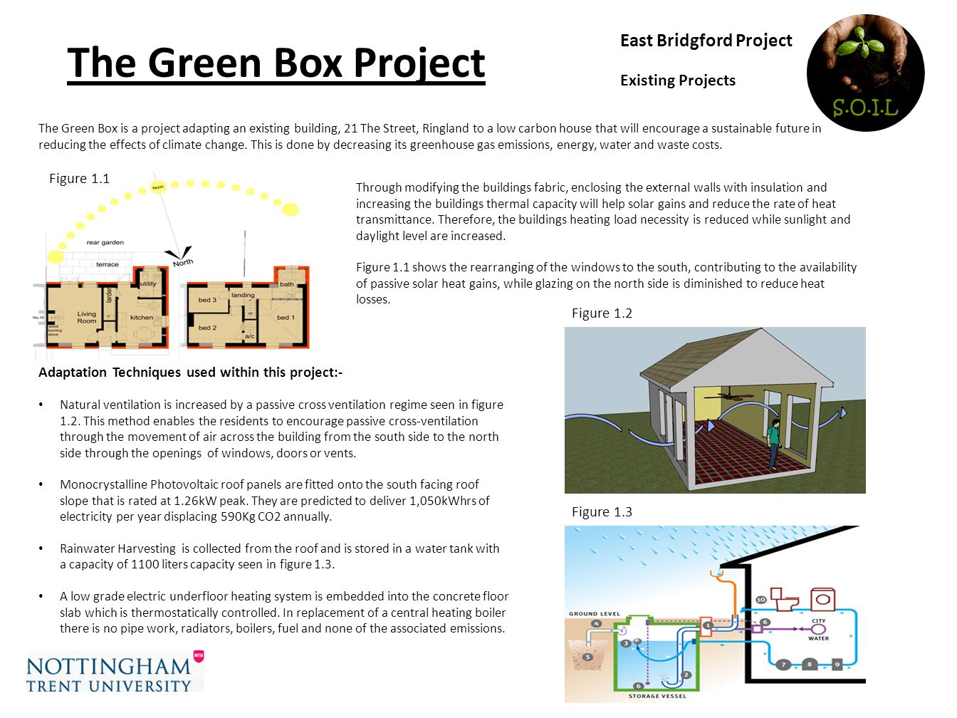 East Bridgford Project Existing Projects The Green Box Project Adaptation Techniques used within this project:- Natural ventilation is increased by a passive cross ventilation regime seen in figure 1.2.